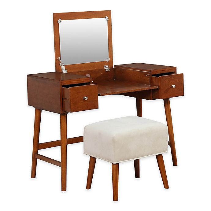 Linon Home Midcentury Modern Vanity Table And Bench Set In