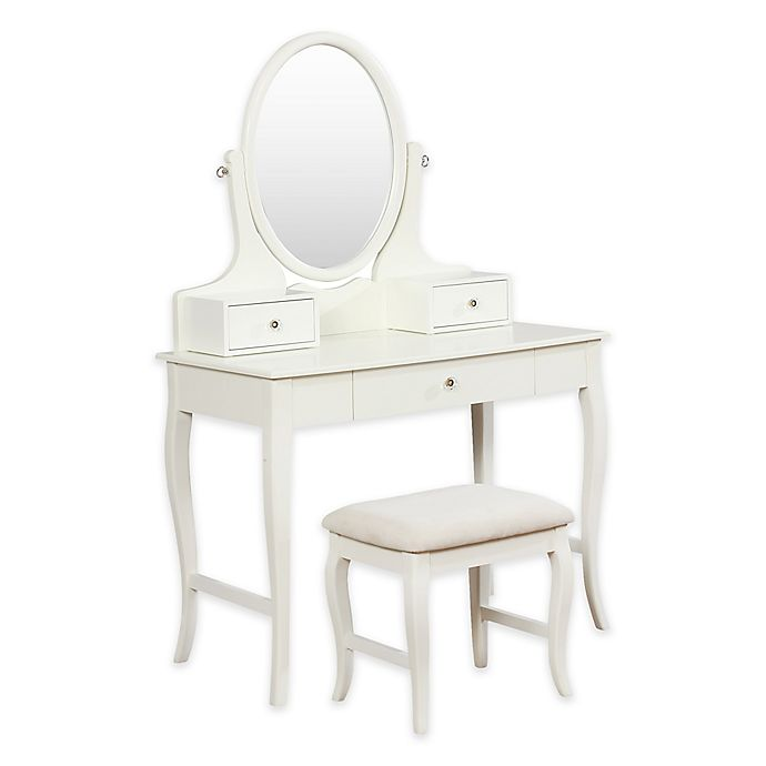 Alternate image 1 for Linon Home Traditional Power Vanity Table and Bench Set in Ivory
