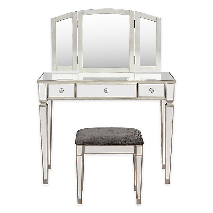Peachy Linon Home Mirrored Vanity Table And Bench Set In Silver Gmtry Best Dining Table And Chair Ideas Images Gmtryco
