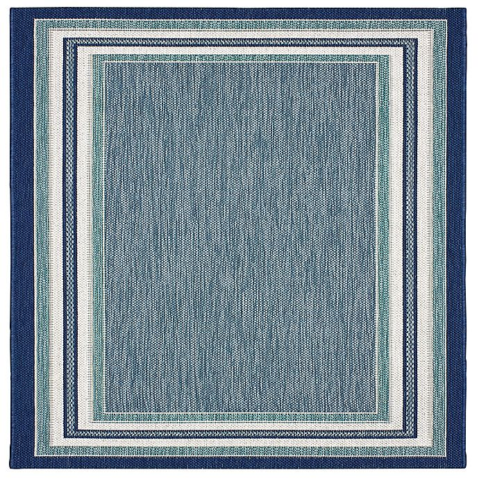Alternate image 1 for Miami Border Stripe 2'7 x 4'2 Indoor/Outdoor Accent Rug in Blue