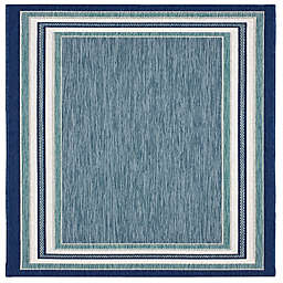 Miami Border Stripe 2'7 x 4'2 Indoor/Outdoor Accent Rug in Blue