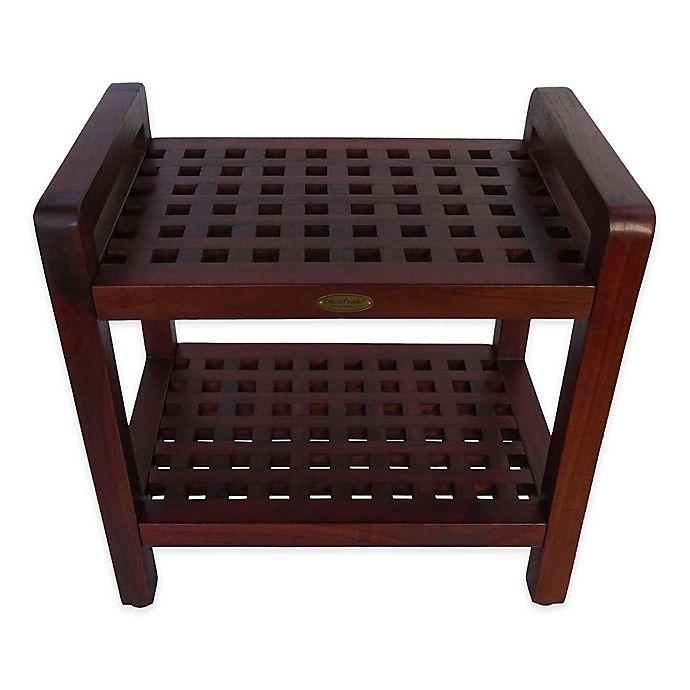 Decoteak 174 Lattice 20 Inch Teak Shower Bench With Shelf And