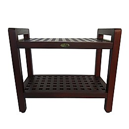 DecoTeak® Lattice 24-Inch Teak Shower Bench with Shelf and Arms in Brown