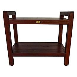 EcoDecors™ Classic 24-Inch Teak Shower Bench with Shelf and Arms in Brown