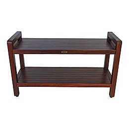 EcoDecors™ Classic Extended 35-Inch Teak Shower Bench with Shelf and Arms in Natural