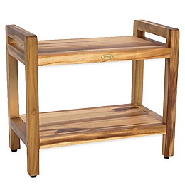EcoDecors™ Classic 24-Inch Teak Shower Bench with Shelf and Arms in Natural