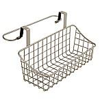 Spectrum Steel Grid Small Over-the-Door Towel Bar/Basket in Satin Nickel