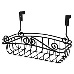 Spectrum® Steel Scroll Small Over-the-Door Basket in Black