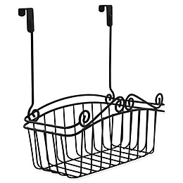 Spectrum Steel Scroll Medium Over-the-Door Basket in Black
