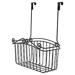 Spectrum® Steel Scroll Large Over-the-Door Basket in Black