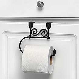 Spectrum Steel Scroll Over-the-Door Towel Ring in Black