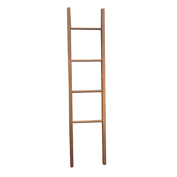 Alternate image 1 for Haven™ Teak Ladder Towel Rack in Natural