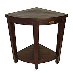 DecoTeak® Oasis Extended Height Teak Corner Shower Bench with Shelf in Brown