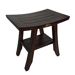 DecoTeak® Satori 18-Inch Teak Shower Bench with Shelf in Brown
