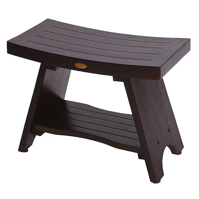 EcoDecors™ Serenity 29-Inch Teak Shower Bench with Shelf ...