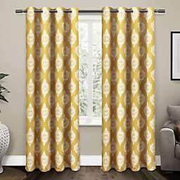 Medallion 96-Inch Grommet Top Room Darkening Window Curtain Panels in Yellow (Set of 2)