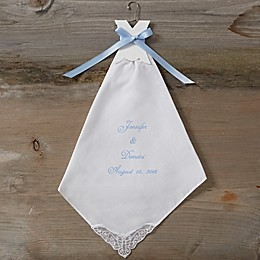 Something Blue Wedding Handkerchief in White