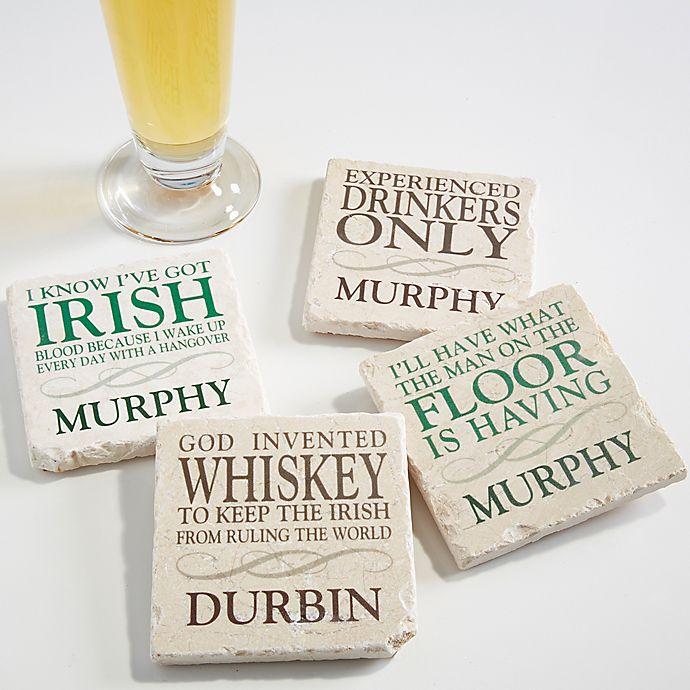 Alternate image 1 for Irish Quotes Tumbled Stone Coasters (Set of 4)