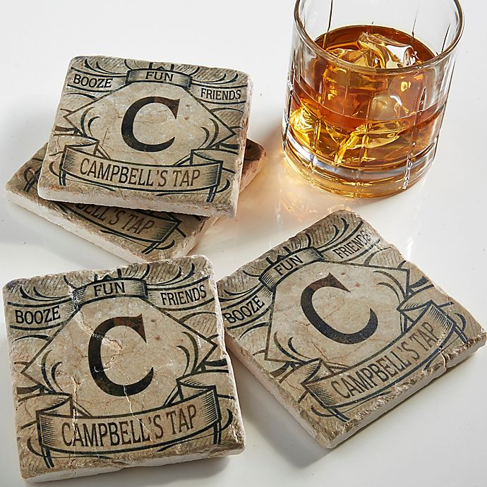Alternate image 1 for Initially Yours Tumbled Coasters (Set of 4)