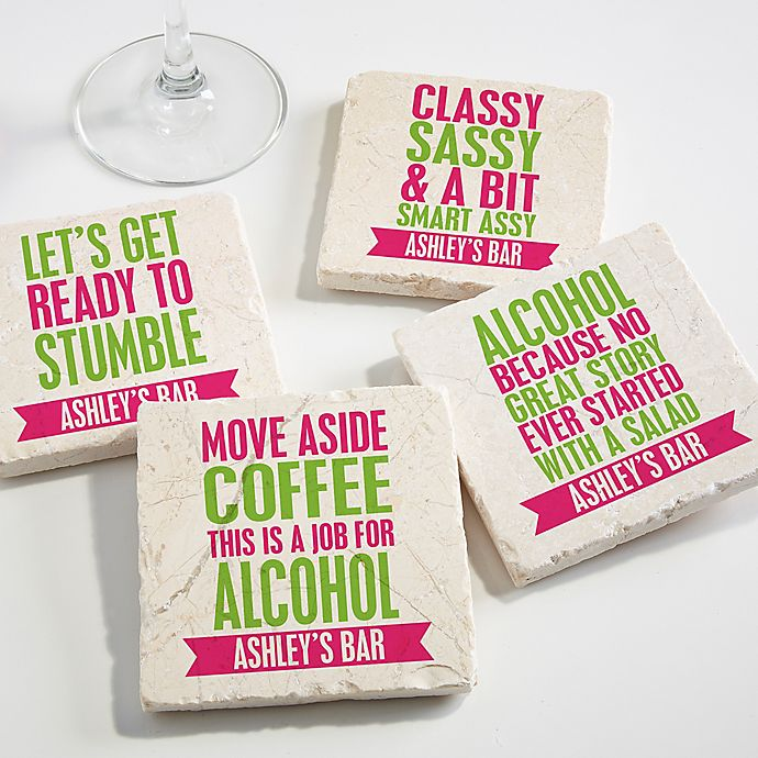 Alternate image 1 for Party it Up Tumbled Stone Coasters (Set of 4)