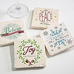 Spirit of the Season Tumbled Stone Coasters (Set of 4)