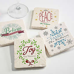 Spirit of the Season Tumbled Stone Coasters (Set of 4)