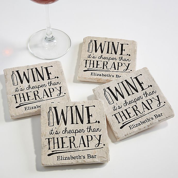 Alternate image 1 for There's Always Time for Wine Tumbled Stone Coasters (Set of 4)