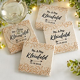 Sparkling Love Tumbled Stone Coasters (Set of 4)