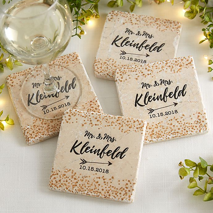 Alternate image 1 for Sparkling Love Tumbled Stone Coasters (Set of 4)