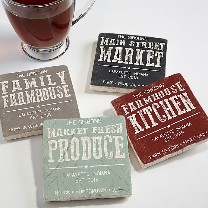 Alternate image 1 for Farmhouse Inspirited Stone Coasters (Set of 4)