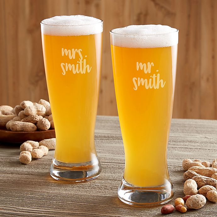 Alternate image 1 for Mr. & Mrs. Wedding Personalized Pilsner Glass