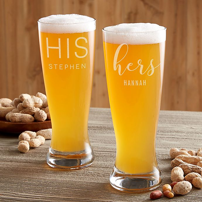 Alternate image 1 for His & Hers Personalized Beer Pilsner Glass