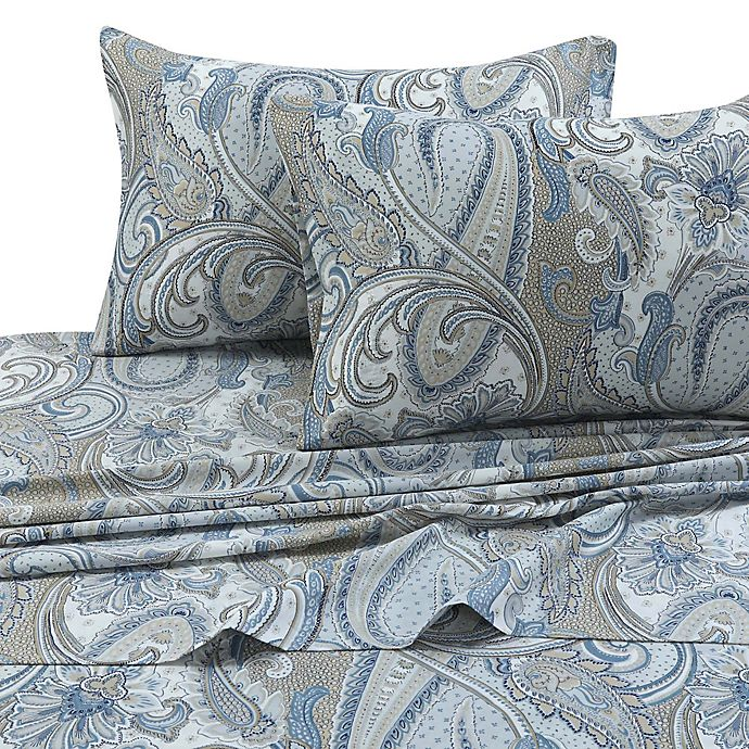 Alternate image 1 for Tribeca Living Paisley Park 300-Thread-Count Deep-Pocket California King Sheet Set in Blue