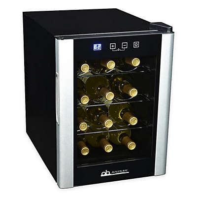 Avalon Bay 12-Bottle Single Zone Wine Cooler in Black/Silver