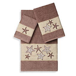 Linum Home Textiles LYDIA Embellished Bath Towels in Latte (Set of 3)