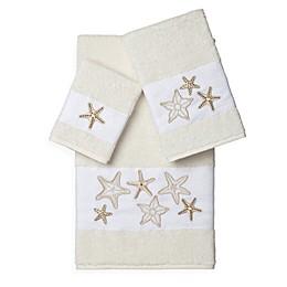 Linum Home Textiles LYDIA Embellished Bath Towels (Set of 3)