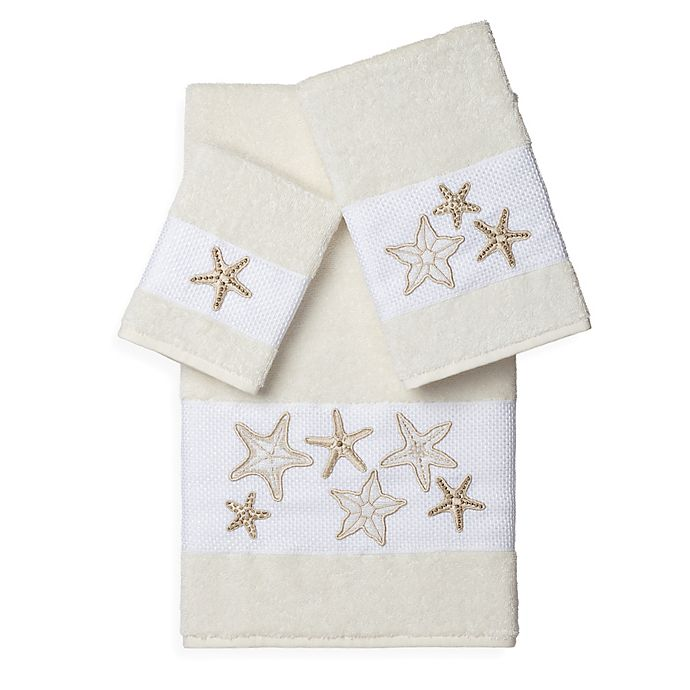 Alternate image 1 for Linum Home Textiles LYDIA Embellished Bath Towels in Cream (Set of 3)