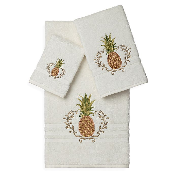 Alternate image 1 for Linum Home Textiles WELCOME Embellished Bath Towels in Cream (Set of 3)