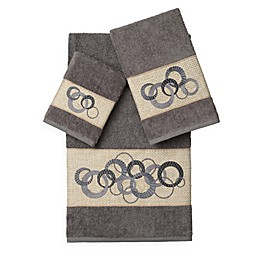 Linum Home Textiles ANNABELLE Embellished Bath Towels (Set of 3)