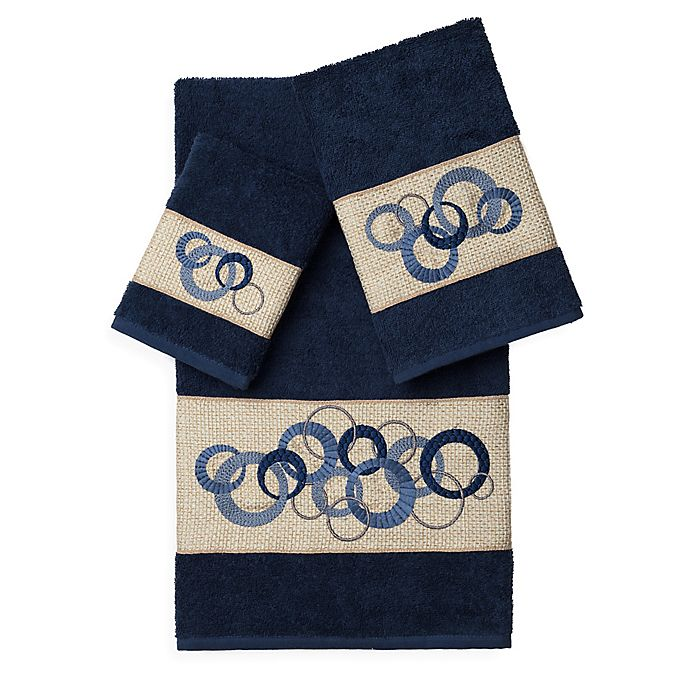 Alternate image 1 for Linum Home Textiles ANNABELLE Embellished Bath Towels in Midnight Blue (Set of 3)