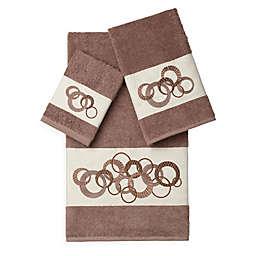 Linum Home Textiles ANNABELLE Embellished Bath Towels in Latte (Set of 3)