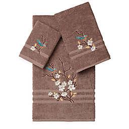 Linum Home Textiles SPRING TIME Embellished Bath Towels in Latte (Set of 3)