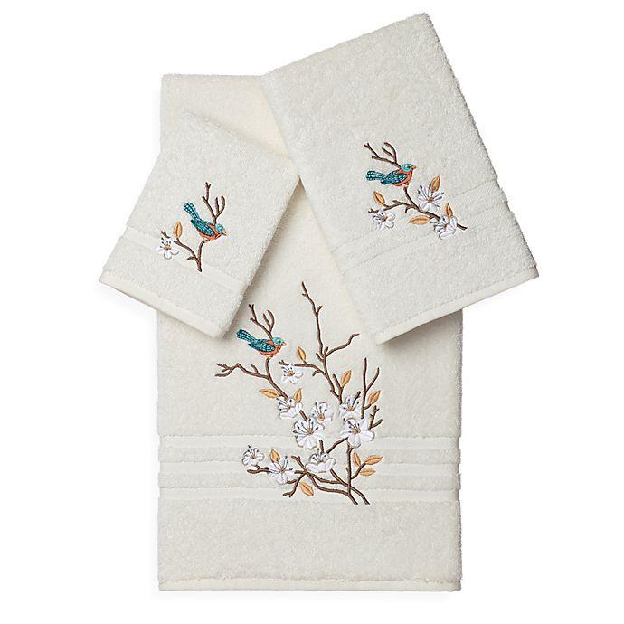 Alternate image 1 for Linum Home Textiles SPRING TIME Embellished Bath Towels in Cream (Set of 3)