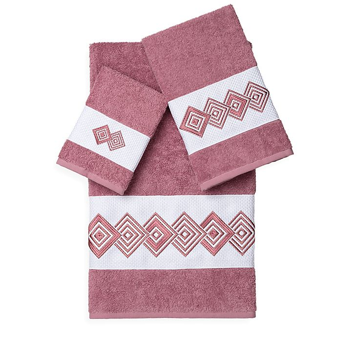 Alternate image 1 for Linum Home Textiles NOAH Embellished Bath Towels in Rose (Set of 3)