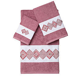 Linum Home Textiles NOAH Embellished Bath Towels in Rose (Set of 3)
