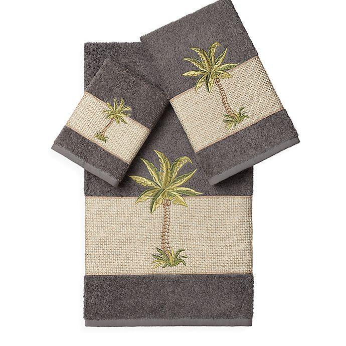 Alternate image 1 for Linum Home Textiles COLTON Embellished Bath Towels in Dark Grey (Set of 3)