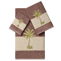 Linum Home Textiles COLTON Embellished Bath Towels in Latte (Set of 3)