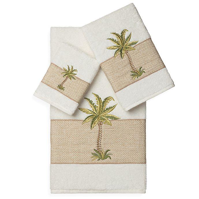 Alternate image 1 for Linum Home Textiles COLTON Embellished Bath Towels in Cream (Set of 3)