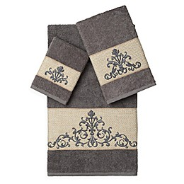 Linum Home Textiles Scarlet Embellished Bath Towels (Set of 3)