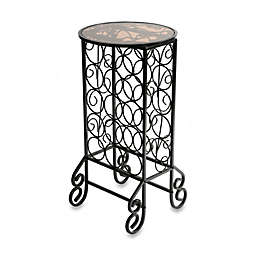 Scroll Iron Wine Table with Glass Top